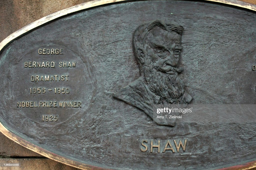A plaque dedicated to Irish writer George Bernard Shaw (1856 - 1950) in the Literary Parade of sculptures in St Patrick's Park, Dublin, Ireland, 2nd December 2011.