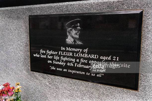 A plaque dedicated to the memory of fire fighter Fleur Lombard who died on 4296 while fighting a fire in a store in Bristol opposite this site...