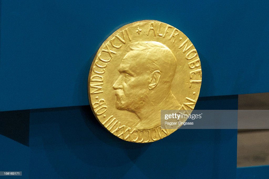 . A plaque depicting Alfred Nobel adorns the lecturn during The Nobel Peace Prize Ceremony at Oslo City Hall on December 10, 2012 in Oslo, Norway.