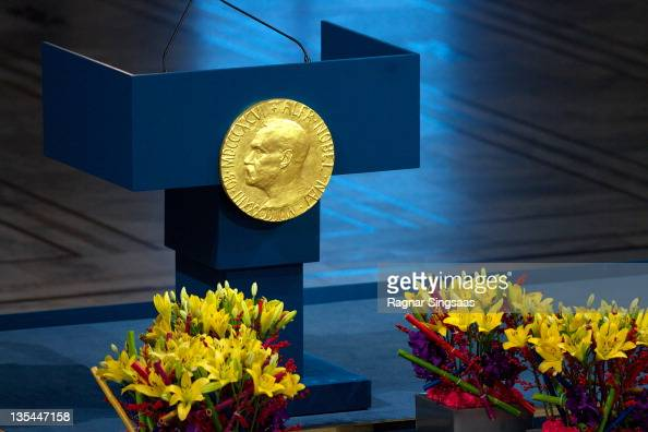 A plaque depicting Alfred Nobel adorns the wall during the Nobel Peace Prize Award Ceremony at Oslo City Hall on December 10 2011 in Oslo Norway