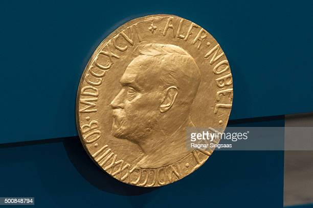 A plaque depicting Alfred Nobel adorns the wall during the Nobel Peace Prize ceremony at Oslo City Town Hall on December 10 2015 in Oslo Norway