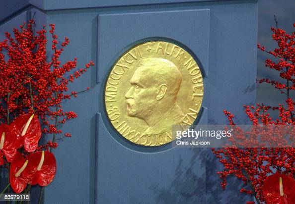 A plaque depicting Alfred Nobel at the Nobel Peace Prize Ceremony 2008 in Oslo City Hall on December 10 2008 in Oslo Norway The Norwegian Nobel...