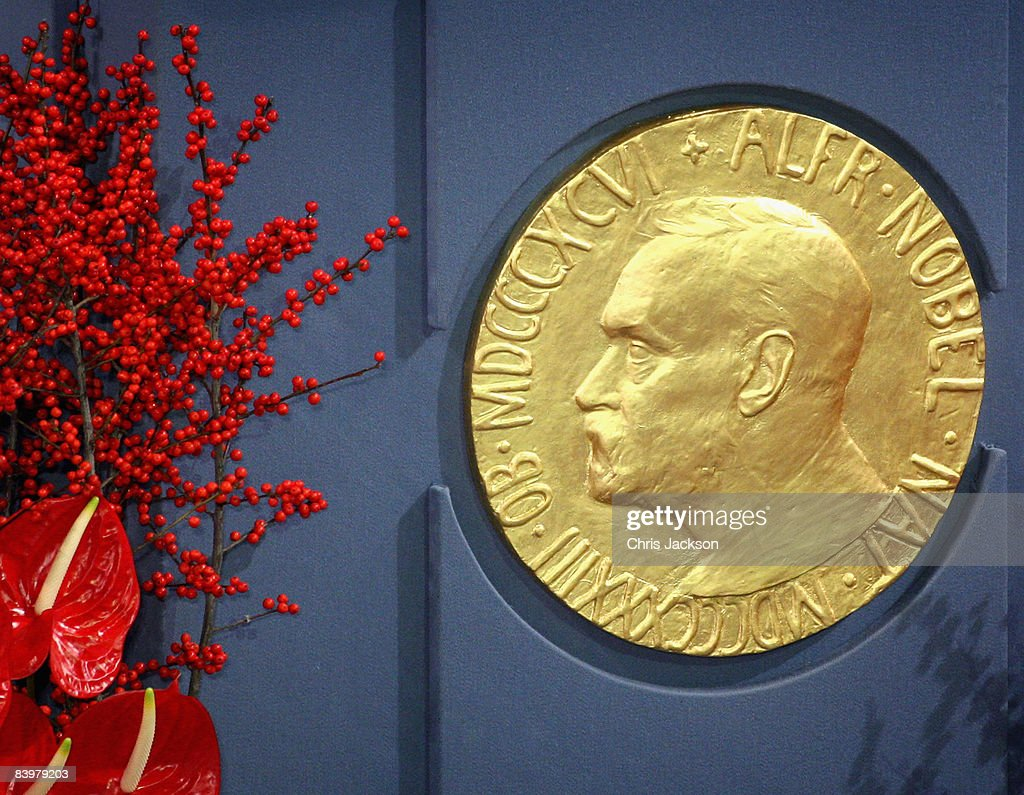 A plaque depicting Alfred Nobel at the Nobel Peace Prize Ceremony 2008 in Oslo City Hall on December 10, 2008 in Oslo, Norway. The Norwegian Nobel Committee has decided to award the Nobel Peace Prize for 2008 to Martti Ahtisaari for his important efforts, on several continents and more than three decades, to resolve international conflicts. The Nobel Peace Prize is one of five Nobel Prizes bequeathed by the Swedish industrialist and inventor Alfred Nobel. His will stated that the prize should be awarded by a committee of five people elected by the Norwegian Parliament. The Peace Prize is presented annually in Oslo, Norway, in the presence of the king, on December 10, the anniversary of Nobel's death.