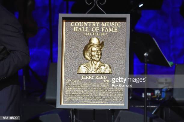 Plaque for Jerry Reed onstage at the Country Music Hall of Fame and Museum Medallion Ceremony to celebrate 2017 hall of fame inductees Alan Jackson...
