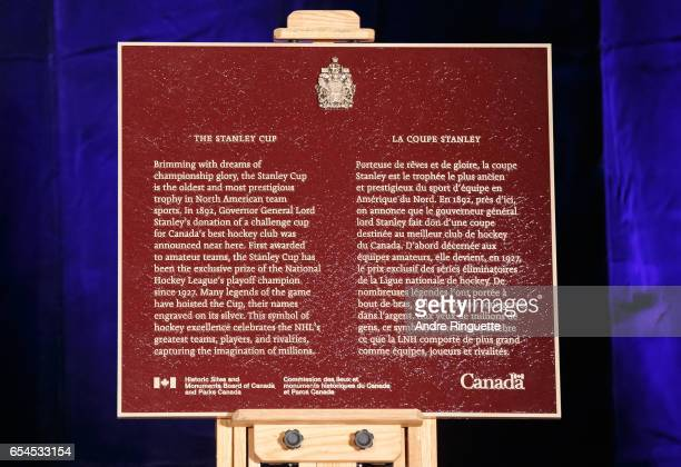 A plaque from the Historic Sites and Monuments Board of Canada and Parks Canada commemorating the Stanley Cup is shown on display during the 2017...