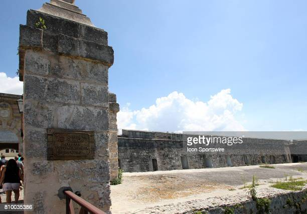 A plaque hangs at the entrance to the Fortaleza de San Carlos de la Cabaña on June 30 in Havana Cuba Che Guevara used the fortress as a headquarters...