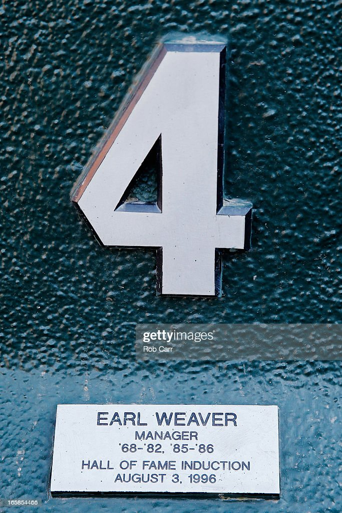 A plaque honoring the memory of former Baltimore Orioles manager <a gi-track='captionPersonalityLinkClicked' href=/galleries/search?phrase=Earl+Weaver&family=editorial&specificpeople=213180 ng-click='$event.stopPropagation()'>Earl Weaver</a> hangs in the dugout before the start of the Orioles and Minnesota Twins game at Oriole Park at Camden Yards on April 6, 2013 in Baltimore, Maryland.
