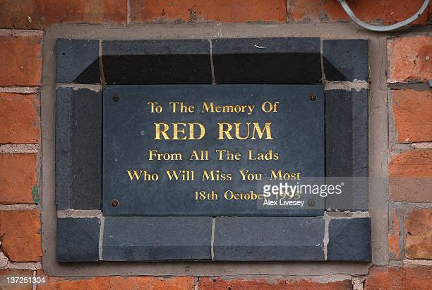 A plaque in memory of Red Rum is seen on one of the stable blocks during a media open day at the yard of trainer Donald McCain on January 17 2012 in...