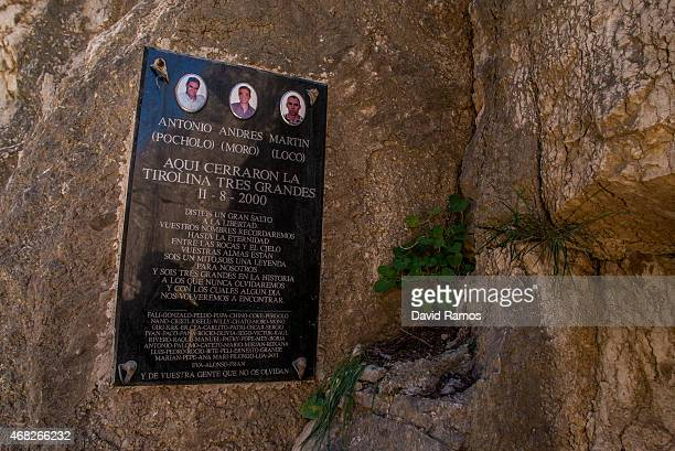 A plaque in memory of three dead men in an accident hangs on the wall of the 'El Caminito del Rey' footpath on April 1 2015 in Malaga Spain 'El...