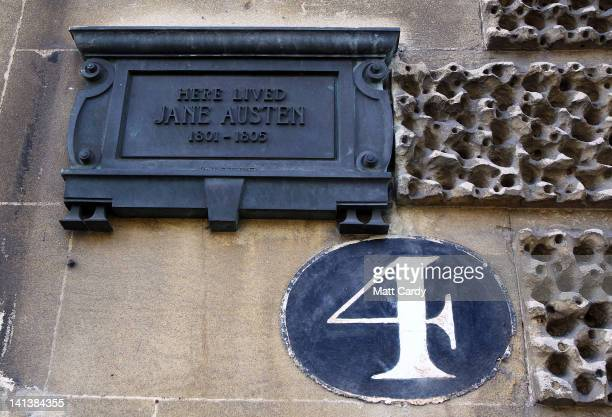 A plaque is displayed on a house that was occupied by Jane Austen when she lived in Bath on March 15 2012 in Bath England With only a few months to...