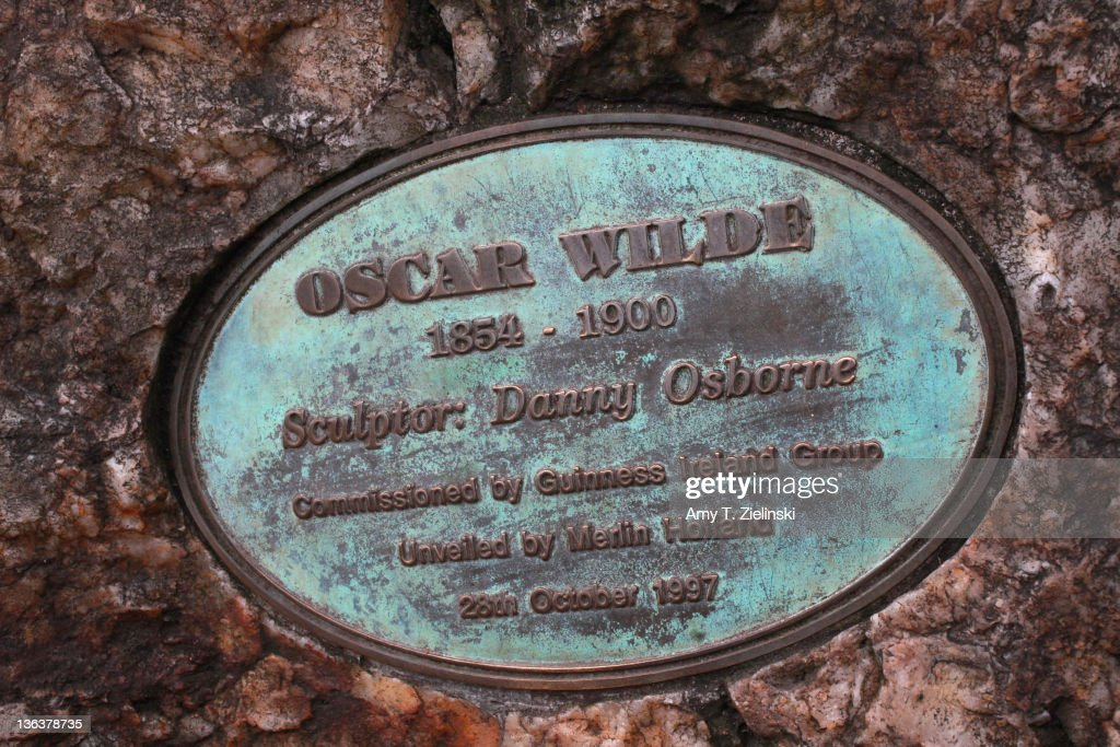 A plaque near the statue of Irish writer Oscar Wilde (1854 - 1900) in Merrion Square Park, Dublin, 1st December 2011.