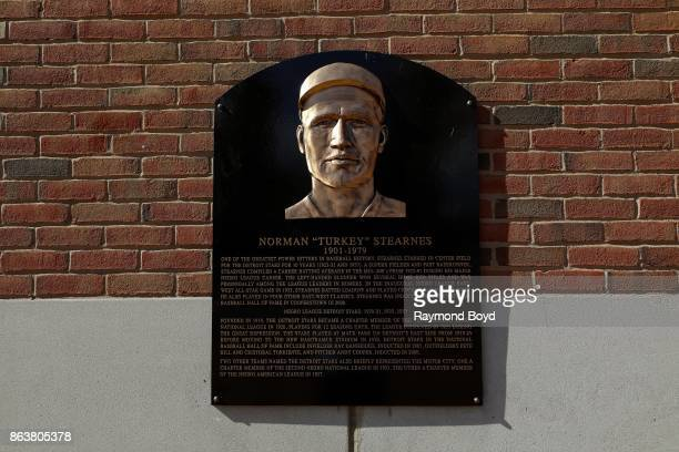 A plaque of former Detroit Stars Negro League baseball player Norman 'Turkey' Stearnes is posted outside Comerica Park home of the Detroit Tigers...