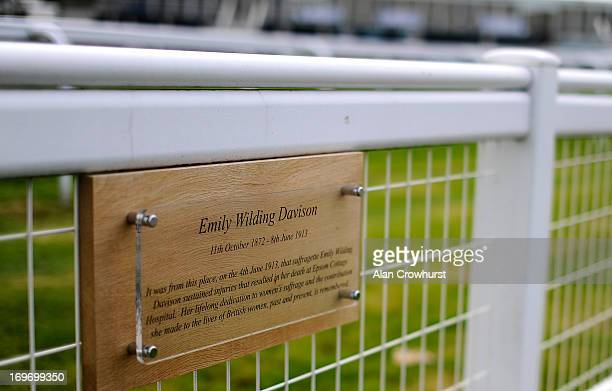 A plaque on Tattenham Corner commemorating suffragette Emily Wilding Davison who threw herself under the kings horse in The Derby in 1913 at Epsom...