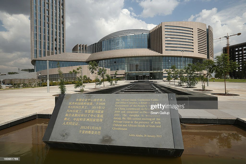A plaque stands outside the headquarters complex of the African Union (AU), which was a gift by the government of China and completed in 2012, on March 18, 2013 in Addis Ababa, Ethiopia. Ethiopia, with an estimated 91 million inhabitants, is the second most populated country in Africa and the per capita income is $1,200.