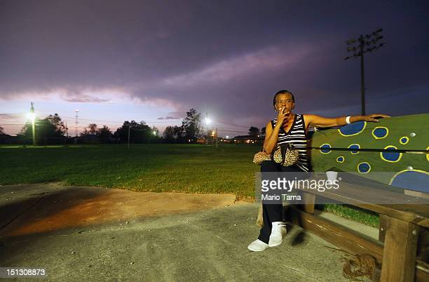 Plaquemines Parish resident Lesley Barthelemy sits at the Camp Hope shelter after evacuating prior to Hurricane Isaac on September 5 2012 in Arabi...