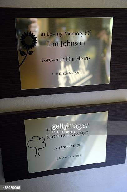 Plaques hang on the wall in memory of siege victims Katrina Dawson and Tori Johnson ahead of the reopening of the Lindt Cafe at Martin Place in...