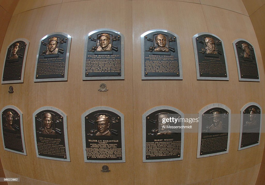 plaques identify inductees into the baseball hall of fame. Black Bedroom Furniture Sets. Home Design Ideas