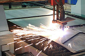 Plasma cutting sparks
