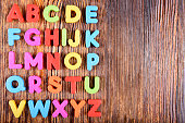 composition of colorful plastic alphabet letters
