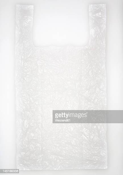 Plastic bag on white background, close up