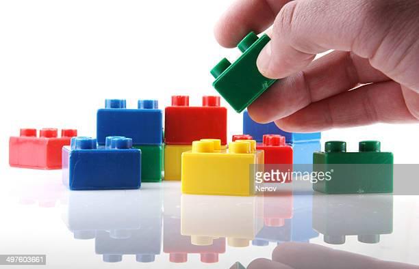 Plastic blocks isolated on white background