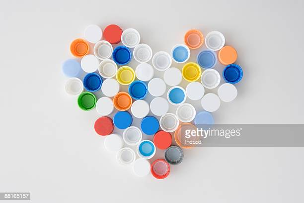 Plastic bottle caps in heart shape