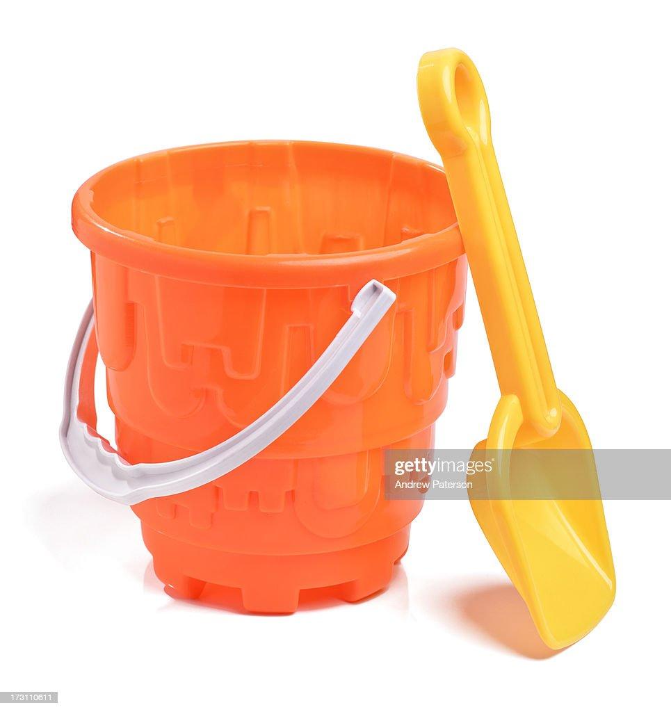 Plastic bucket and spade