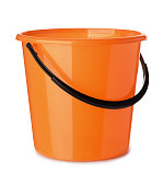 Orange plastic bucket isolated on white