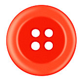 Red Plastic button isolated on white with Clipping Path