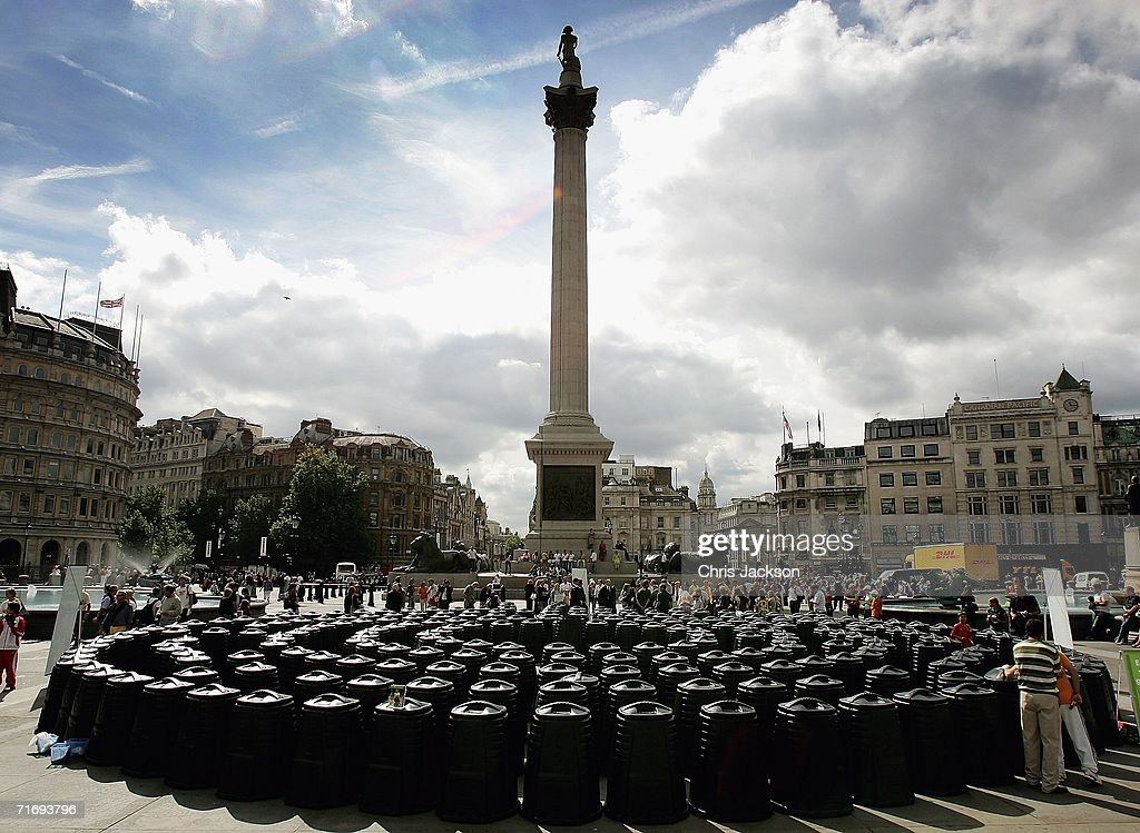 plastic compost bins are layed out in trafalgar square put there to celebrate the sale