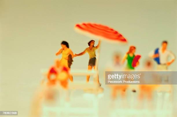 Plastic figurines at beach