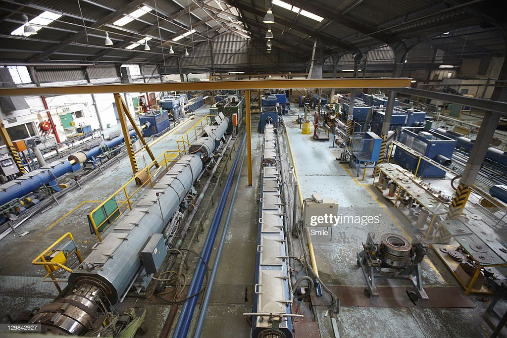 Plastic pipe factory : Stock Photo