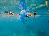 plastic pollution bags floating on marine or ocean environment