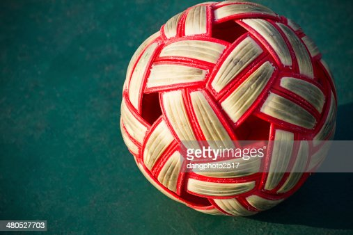 Plastic Sepak takraw ball on the cement floor. : Stock Photo