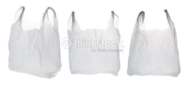 plastic shopping bag on white background ストックフォト thinkstock