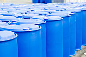 Chemical Plant, Plastic Storage Drums, Big Blue Barrels