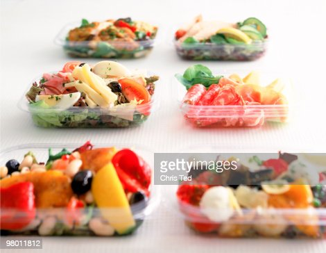 Plastic Take-away with Various Salads : Stock Photo