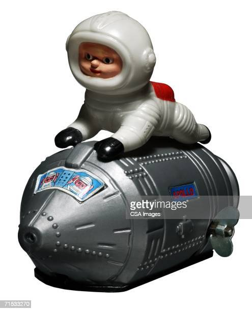 Plastic Toy Astronaut on a Spaceship