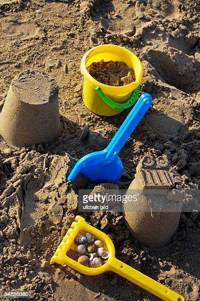 plastic toys bucket and shovel at the beach