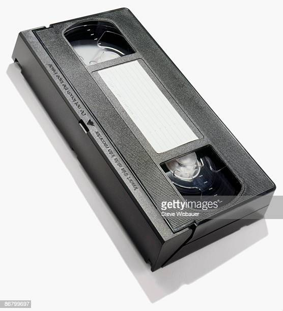 Plastic VHS video cassette tape on angle