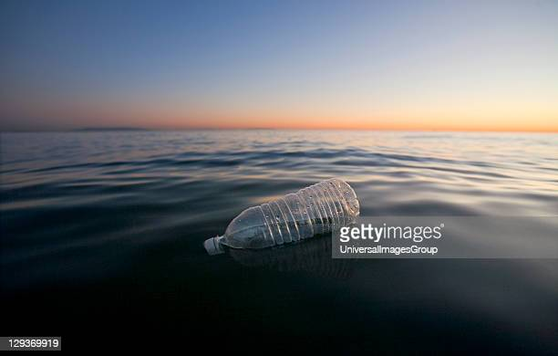 Plastic Water Bottle Floating in Pacific Ocean Santa Monica California USA