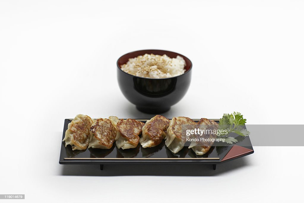 Plate and bowl of Japanese food : Stock Photo