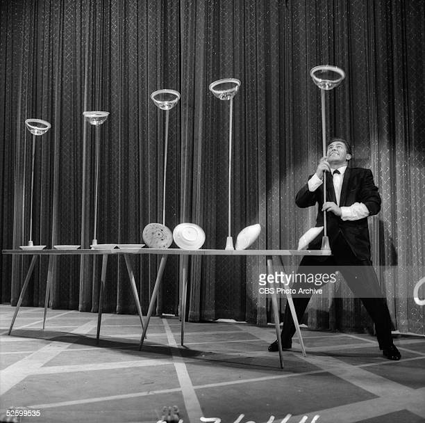 Plate and bowl spinner Eric Brenn performs on an episode of 'the Ed Sullivan Show' called 'the Annual Army Talent Show' filmed on June 27 1959 The...