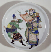 Plate decorated with three heroes protagonists of the novel on the water cycle porcelain China Chinese Civilisation Qing dynasty beginning of Kangxi...