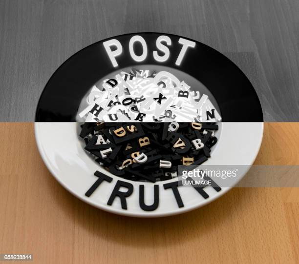 Plate filled with letters and the words Post and Truth.