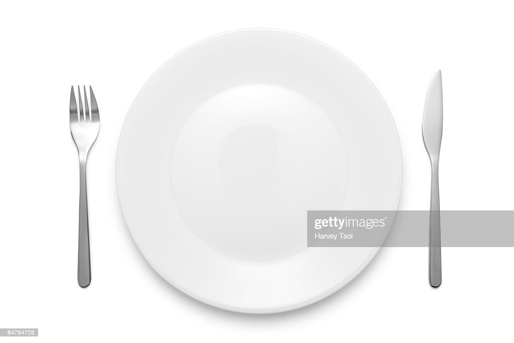 Plate Fork and Knife : Stock Photo