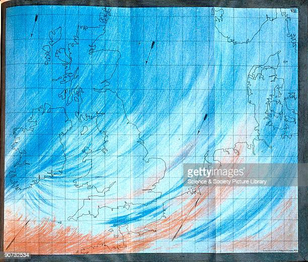 Plate from �The Weather Book� by Admiral Robert Fitzroy The coloured illustration shows the mixing of cold polar air with warm tropical air currents...