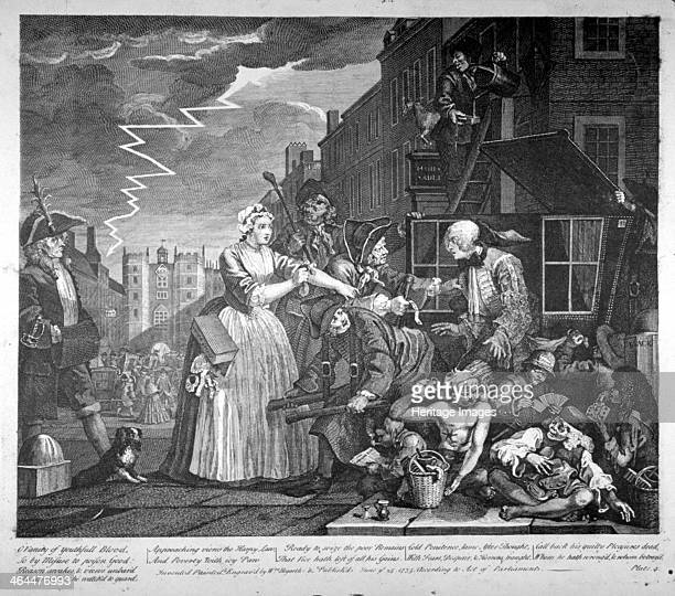 Plate IV of A Rake's Progress 1735 The rake Tom Rakewell being arrested as he alights from his sedan chair Forked lightning can be seen in the sky On...