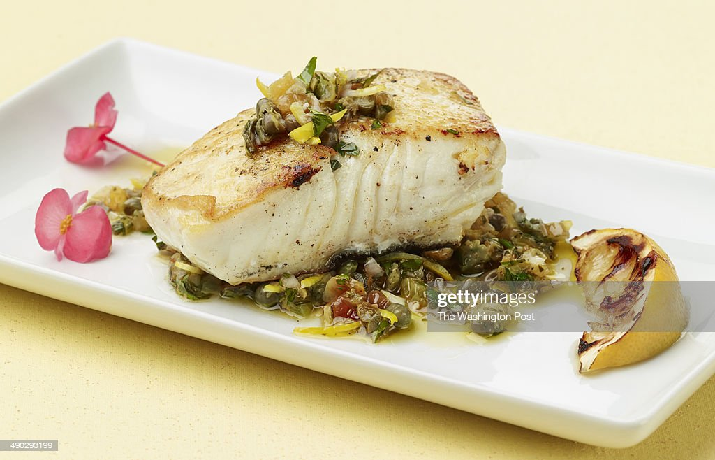 Halibut Fillet with Agrodolce Pesto in the studio in Washington DC on April 4 2014 Tableware from Crate and Barrel