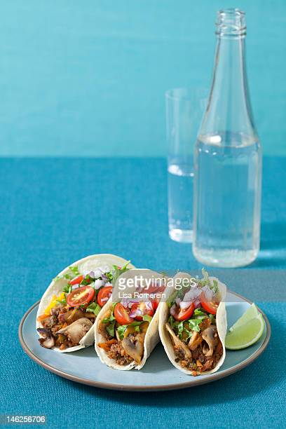 Plate of 3 vegetarian barbeque tacos